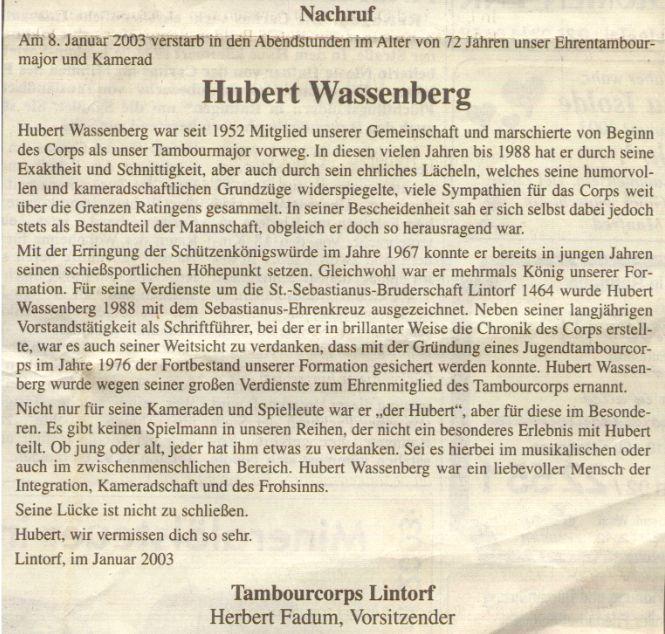 Nachruf Hubert Wassenberg, Ratingen-Lintorf