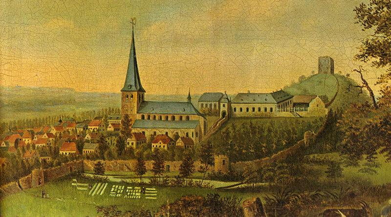 Wassenberg mit Burg im frühen 19. Jahrhundert - Von Unbekannt - Heimatkalender des Kreises Heinsberg 1973, Gemeinfrei, https://commons.wikimedia.org/w/index.php?curid=1920608