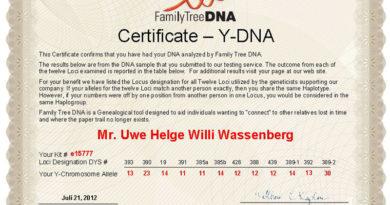 Uwe Wassenberg - Haplogruppe R1b1a2 (R-M269)