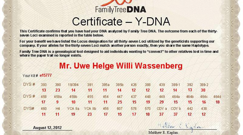 Heute sind die Ergebnisse für die 37 Marker für meine Y-DNA der Haplogruppe R1b1a2 meines Kits E15777 eingetrudelt.