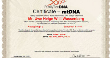 Uwe Wassenberg - mtDNA Haplogruppe V