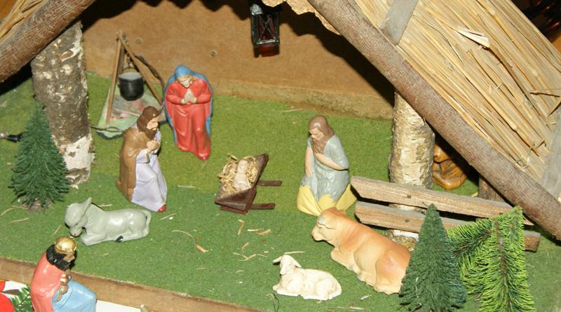 Weihnachtskrippe - Frohe Weihnachten, Merry Christmas, Joyeux Noël, Feliz Navidad, Buon Natale, Vrolijk Kerstfeest