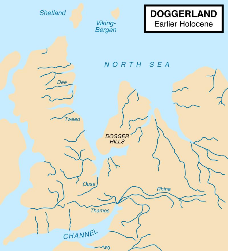 Kartenskizze mit Doggerland im frühen Holozän - Karte: Max Naylor - Eigenes Werk, CC BY-SA 3.0, https://commons.wikimedia.org/w/index.php?curid=6011686