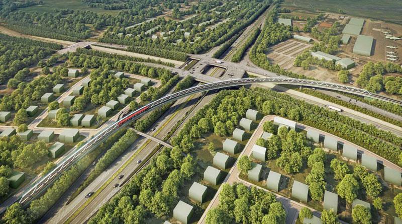 Animation der Brücke Nordstern, Blick nach Nordwesten, Grafik: Landeshauptstadt Düsseldorf, Amt für Verkehrsmanagement
