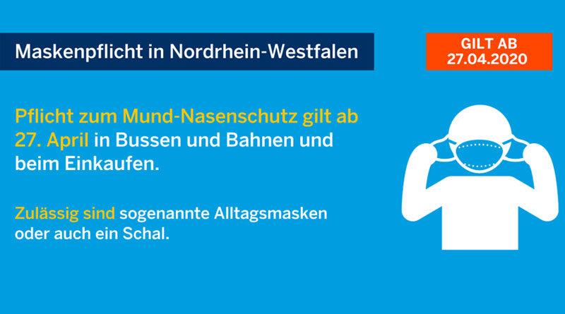 Ab 27 April 2020 - Maskenpflicht in NRW beim Einkauf und im ÖPNV