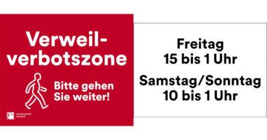 Mehr als 300 Schilder werden auf die Verweilverbotszone hinweisen - © Landeshauptstadt Düsseldorf, Amt für Kommunikation